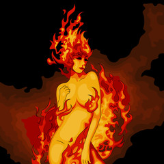 Cartoon vector illustration of a dancing girl with fire around her