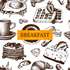 Vector ink hand drawn  food sketch collection for breakfast menu isolated on white