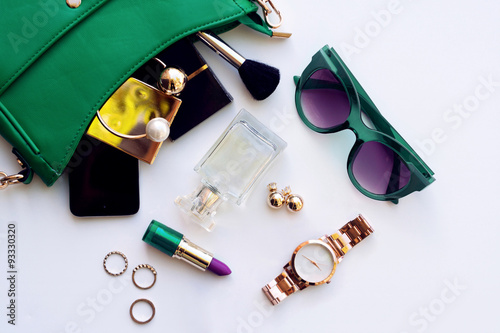 Wall mural Top view of female fashion accessories