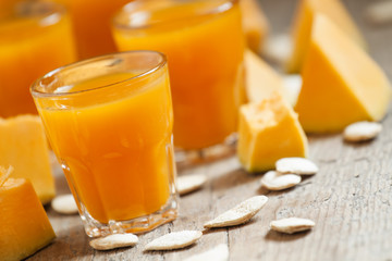 Pumpkin juice, selective focus