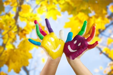 Child painter hands.