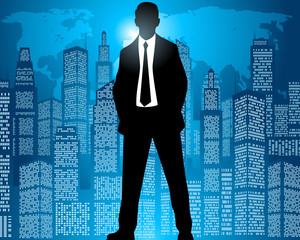 Businessman on city background