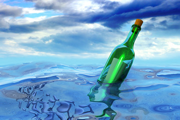 Floating green glass wine bottle with a secret message in the open sea with a sky and clouds