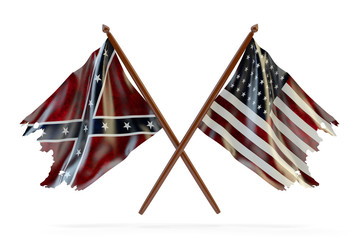 American civil war and merorial day concept, usa and confederate tattered flags isolated on white background