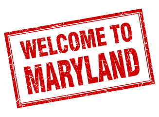 Maryland red square grunge welcome isolated stamp