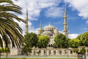 Sights of Turkey. Blue mosque in Istanbul. Famous Turkish monument.