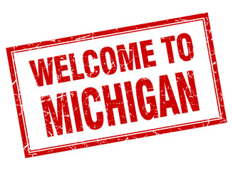 Michigan red square grunge welcome isolated stamp