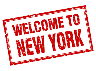 New York red square grunge welcome isolated stamp