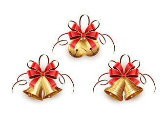 Golden Christmas bells with red ribbon