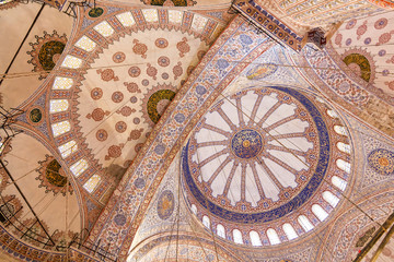 Sights of Turkey. Blue mosque in Istanbul. Interior of Turkish monument.