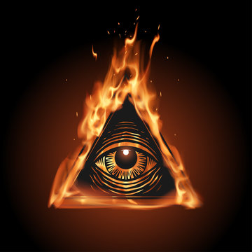 All seeing eye in flame