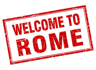 Rome red square grunge welcome isolated stamp