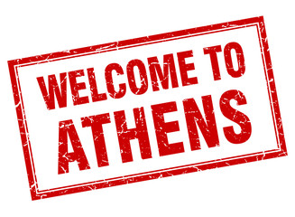 Athens red square grunge welcome isolated stamp