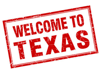 Texas red square grunge welcome isolated stamp