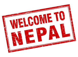 Nepal red square grunge welcome isolated stamp