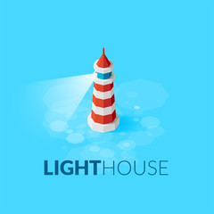 Flat isometric red lighthouse icon on blue sea
