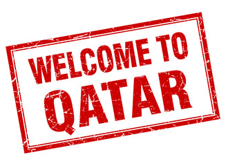 Qatar red square grunge welcome isolated stamp