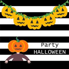 Party halloween pumpkin girl