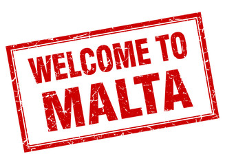 Malta red square grunge welcome isolated stamp