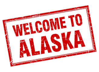 Alaska red square grunge welcome isolated stamp