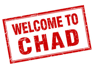 Chad red square grunge welcome isolated stamp