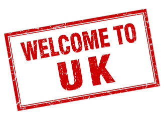 uk red square grunge welcome isolated stamp