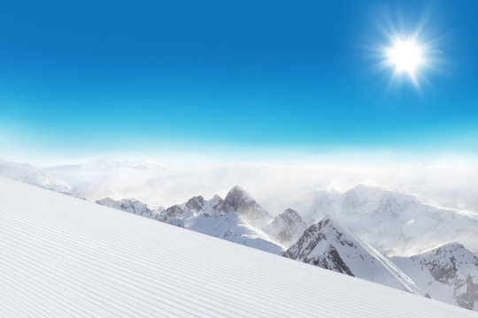 Ski slope in the mountains