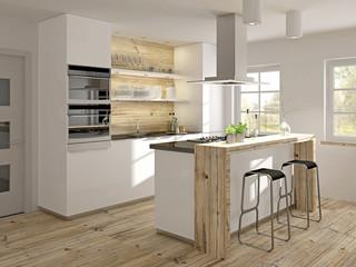 Moderne Miniküche mit rustikalem Holz