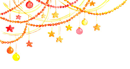 Christmas or new year decor - garland frame, Watercolor