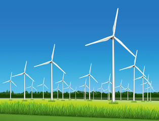 Wind-powered electrical generators (aerofoil-powered generators) in the field in sunny day.