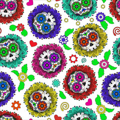 Day of Dead Mexico vector seamless pattern with skull and