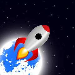 Space cartoon background with rocket spaceship stars and planet vector illustration