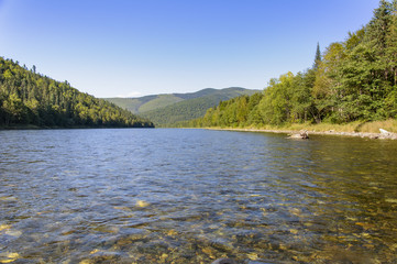 Mountain River Anuy .  Mountain River in the northeast of Khabarovsk Krai , Russia .