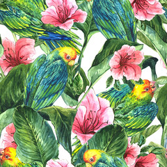 Seamless Background with Tropical Leaves, Parrots and Hibiscus