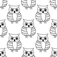 Seamless background pattern of a cute owl