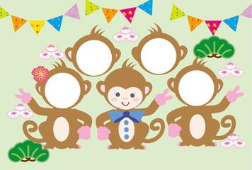 可愛い子猿のイラスト年賀状フォトフレーム