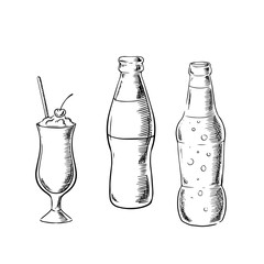 Beer, sweet soda and cocktail sketches