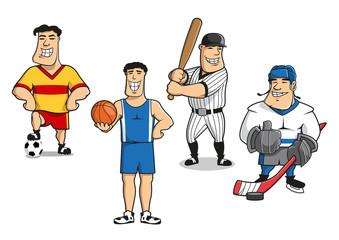 Football, basketball, baseball, hockey players