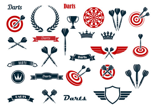 Darts game ditems and heraldic elements