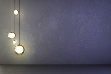Lightbulbs in an empty concrete room