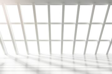 Fototapete - Beautiful white loft interior with big windows