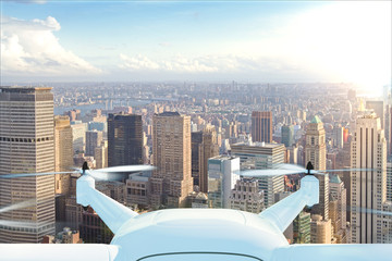 Drone delivers the goods against the background of New York at s