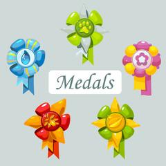 A set of cartoon medals for pet