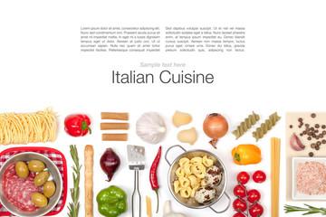 Italian food ingredients on white background