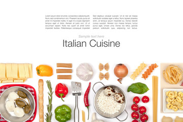 Italian food ingredients on white background