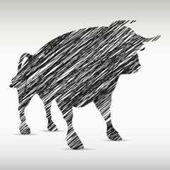 silhouette of a bull drawn. Company `s logo
