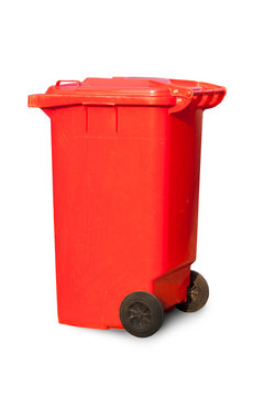 Red large trash cans (garbage bins) on white background
