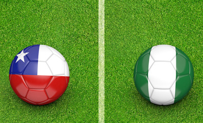 Team balls for Chile vs Nigeria soccer tournament match