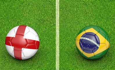 Team balls for England vs Brazil soccer tournament match