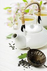 Chinese Tea Set and pink sakura blossom
